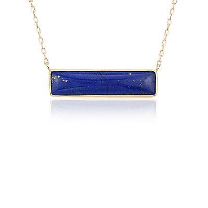 NUEVO. Collar de barra con lapislázuli, en oro amarillo de 14k
