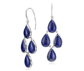 Lapis Statement Earrings in Sterling Silver