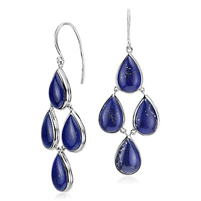 Lapis Statement Earrings in Sterling Silver