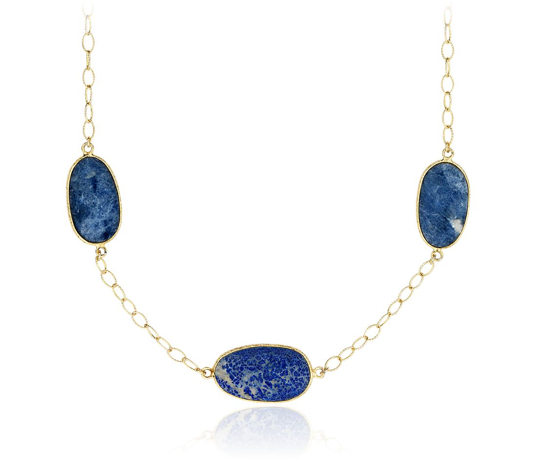 Lapis Long Oval Necklace in Gold Vermeil