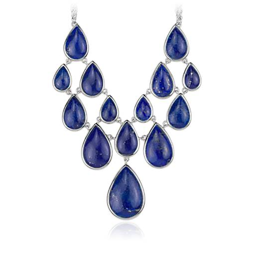 Lapis Statement Necklace in Sterling Silver (19.05x12.7mm)