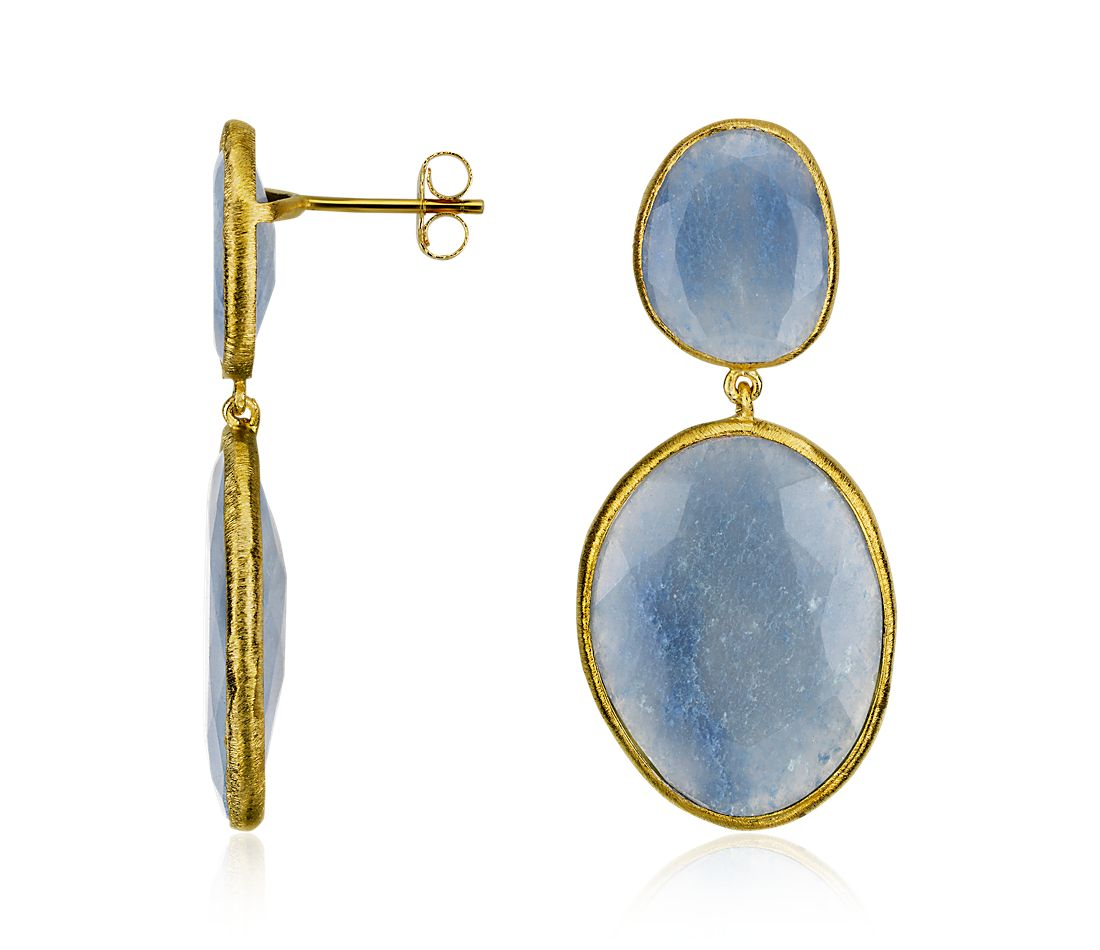 Blue Quartz Organic Dangle Earrings in 18k Yellow Gold Vermeil