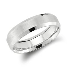 Lathe Emery Comfort Fit Wedding Ring in 14k White Gold (6mm)