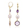 Lavender Amethyst, Amethyst, and Pearl Earrings in 14k Yellow Gold