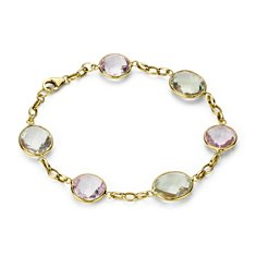 Lavender Amethyst and Green Quartz Bezel Bracelet in 14k Yellow Gold