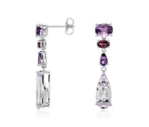 Amethyst, Lavender Amethyst, and Garnet Drop Earrings in Sterling Silver