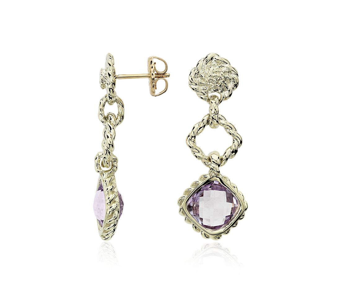 Lavender Amethyst Roped Dangle Earrings in 14k Yellow Gold