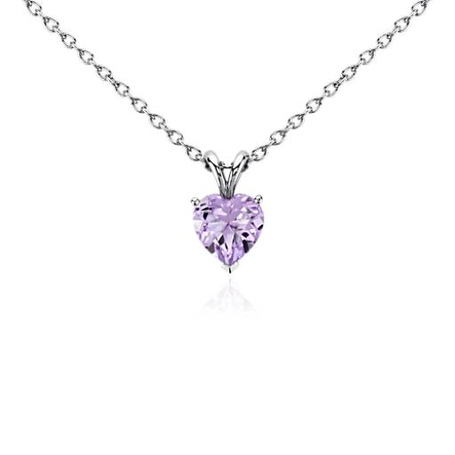 Lavender Amethyst Heart Pendant in Sterling Silver (8mm)