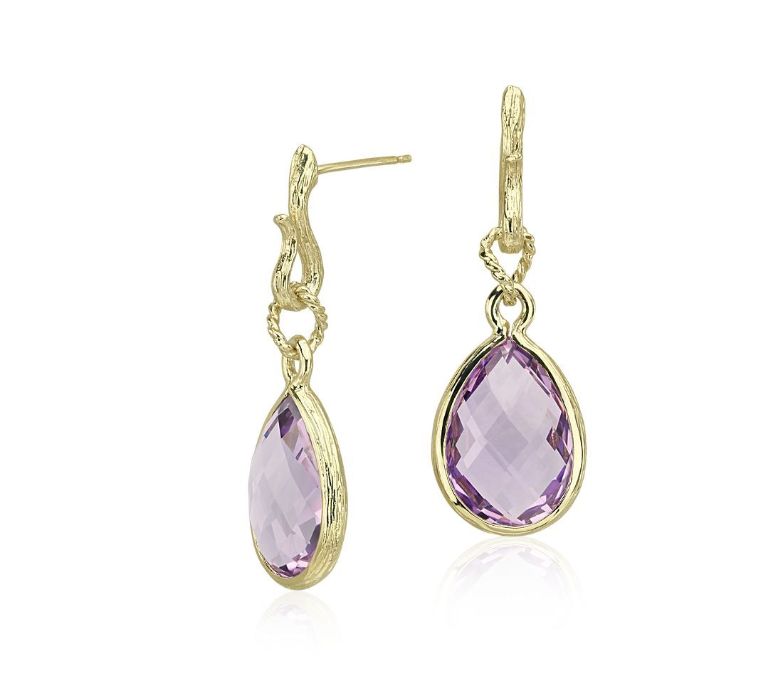 Lavender Amethyst Teardrop Earrings in 14k Yellow Gold
