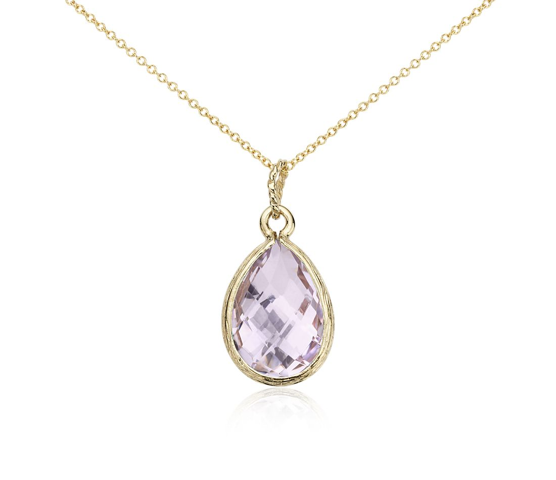 Lavender Amethyst Teardrop Pendant in 14k Yellow Gold