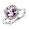 Lavender Amethyst and White Sapphire Halo Cushion-Cut Ring in Sterling Silver