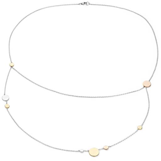 Layered Station Necklace in 14k Tri-Color Gold