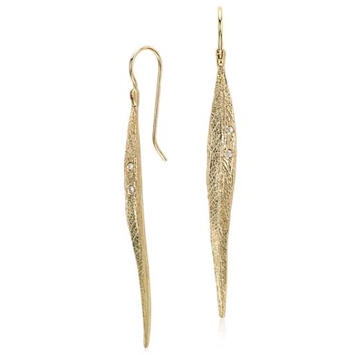 NEW Long Leaf with Two Diamonds Dangle Earring in 14k YG