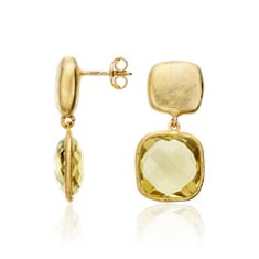 Pendants d'oreille quartz citron organique en Vermeil or jaune 18 carats