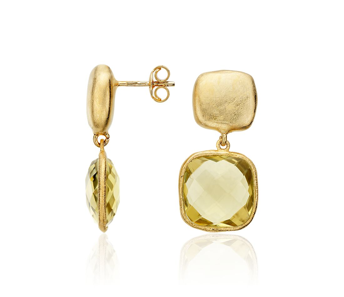 Lemon Quartz Organic Drop Earrings in Gold Vermeil