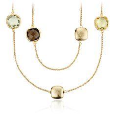 Lemon Quartz, Smokey Quartz, and Green Amethyst Necklace in 18k Yellow Gold Vermeil