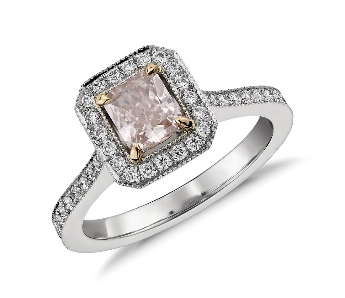 Radiant Cut Fancy Light Pink Diamond Halo Ring in Platinum (0.62 ct. center)