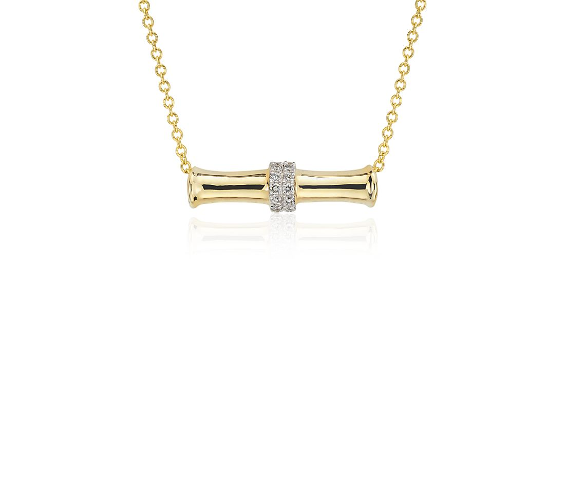 Bamboo Bar Diamond Necklace in 14k Yellow Gold (1/6 ct tw)