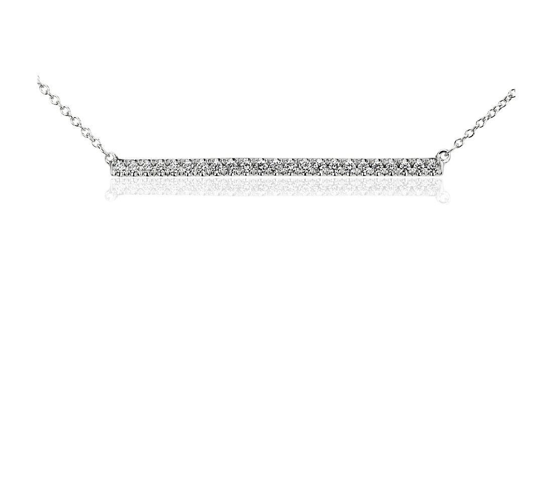 Bar Diamond Necklace in 14k White Gold (1/4 ct. tw.)