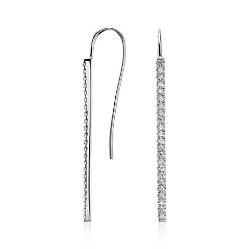 Bar Diamond Earrings in 14k White Gold (1/2 ct. tw.)