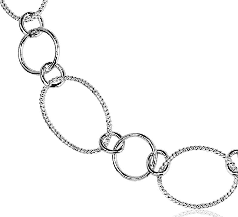 Collar con eslabones en círculos en plata de ley - 42