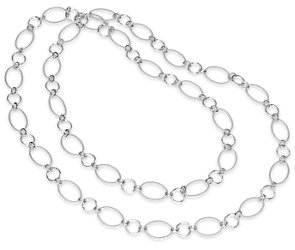 Circlet Link Necklace in Sterling Silver - 42