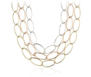Oval Linked Necklace in Sterling Silver, Rose and Yellow Gold Vermeil
