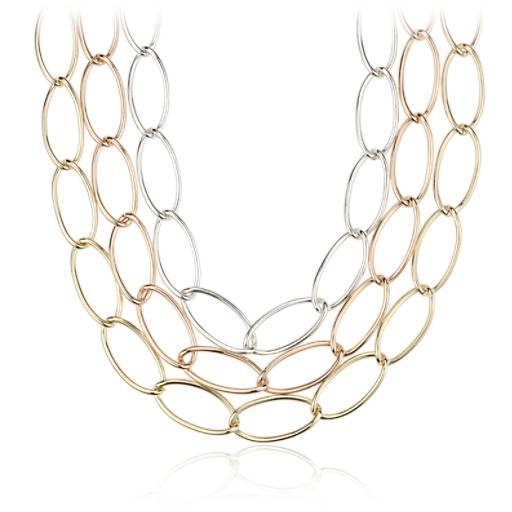 Collar de eslabones ovalados en plata de ley y Plata bañada en oro amarillo y rosado