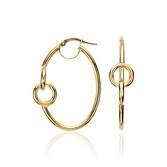Fancy Oval Hoop Earrings in 14k Yellow Gold