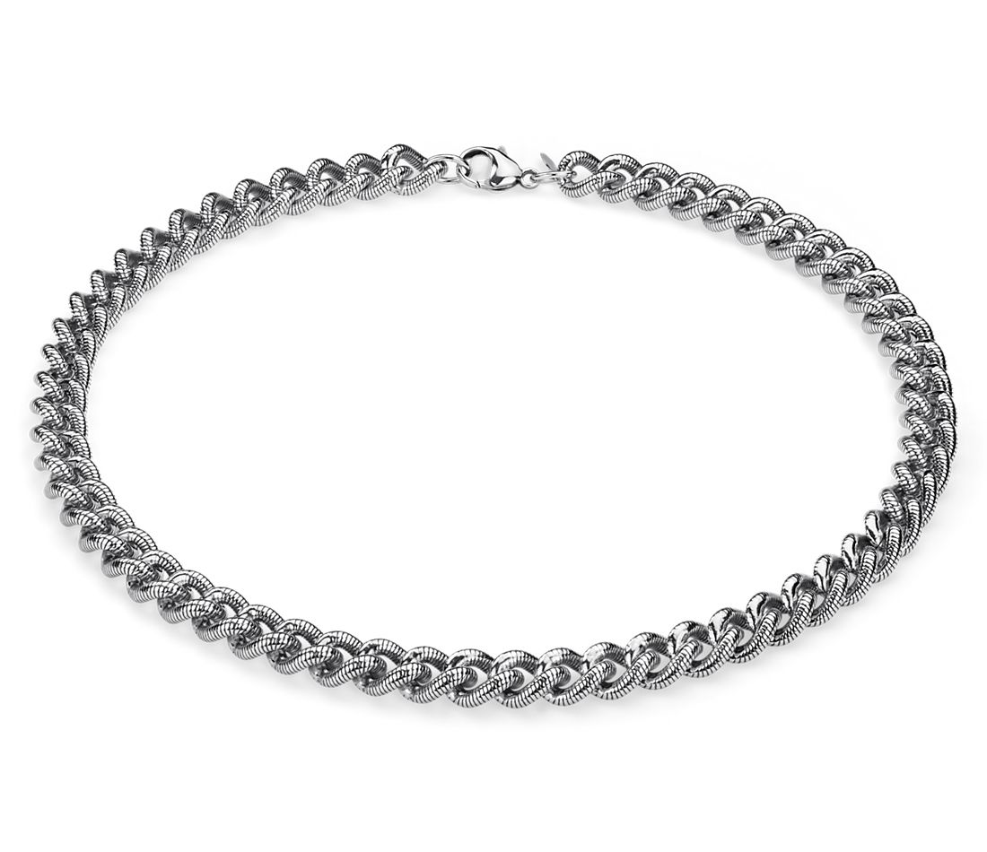 Bold Textured Linked Necklace in Sterling Silver