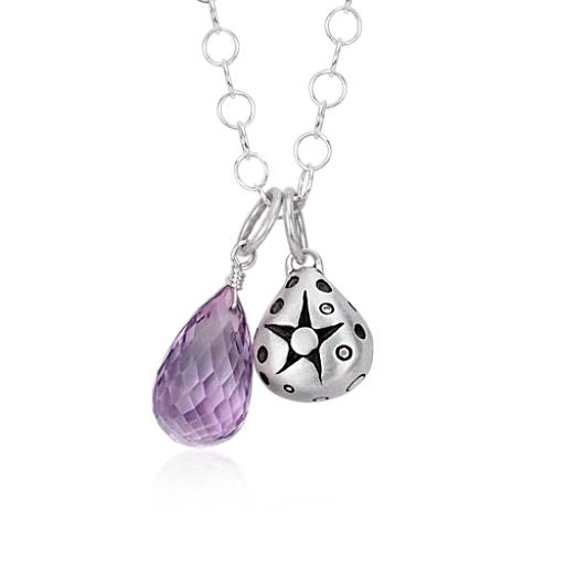 Lisa Jenks Amethyst Drop Pendant in Sterling Silver (12x8mm)
