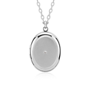 Engraveable Diamond Locket in Sterling Silver