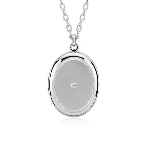 Engraveable Diamond Locket in Sterling Silver
