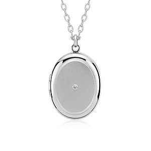 "Engraveable Diamond Locket in Sterling Silver (30"")"