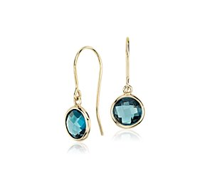 London Blue Topaz Earrings in 14k Yellow Gold