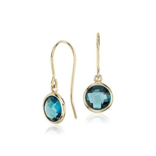 London Blue Topaz Earrings in 14k Yellow Gold (7mm)