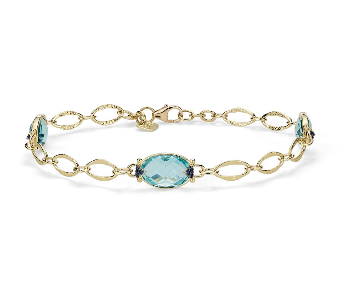 Blue Topaz Bracelet In 18k Yellow Gold (12x8mm)
