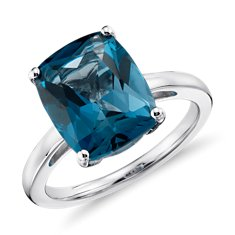 London Blue Topaz Cushion-Cut Ring in Sterling Silver
