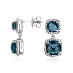 London Blue Double Drop Halo Stud Earrings in Sterling Silver
