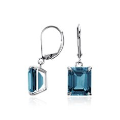 Boucles d'oreilles bleue London rectangulaires en Argent sterling