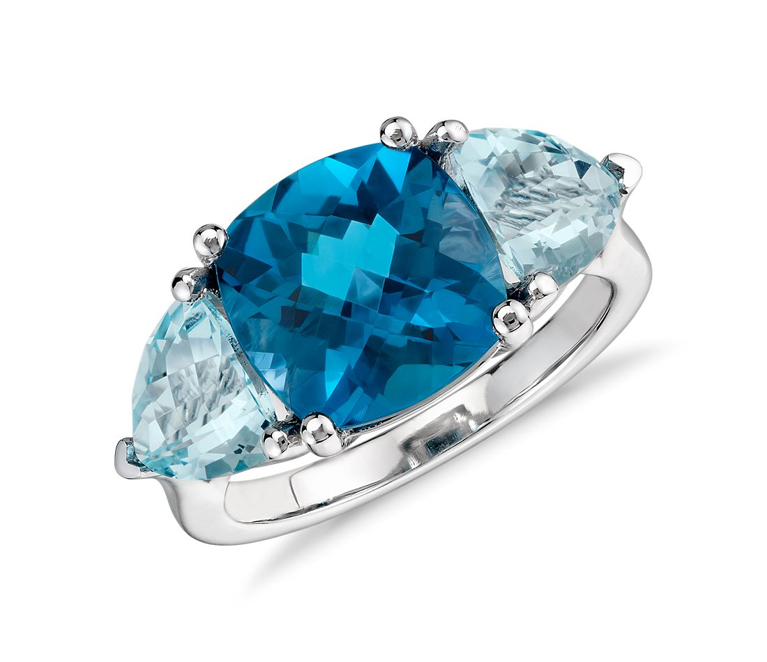 Blue Topaz  Ring in 14k White Gold (10x10mm)