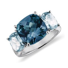 Bague en topaze bleue en Or blanc 14 ct