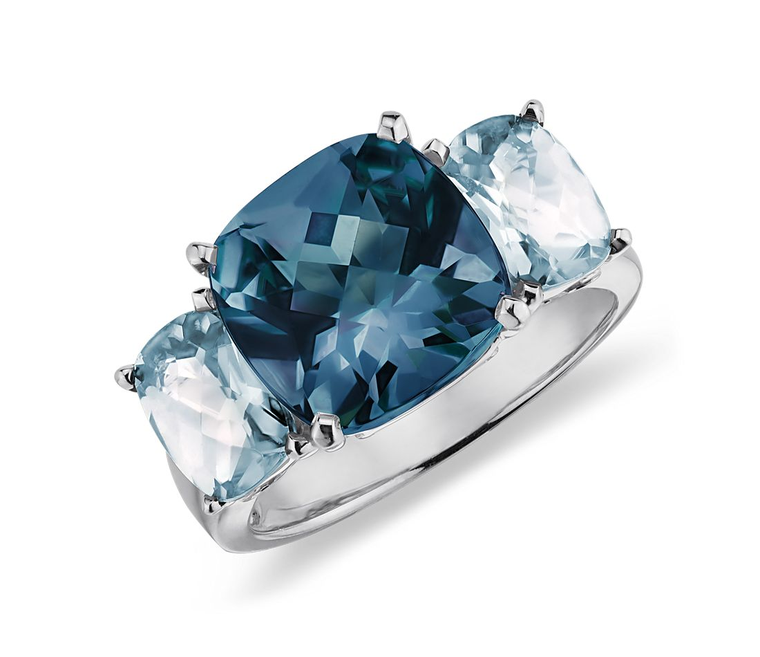 Blue Topaz  Ring in 14k White Gold