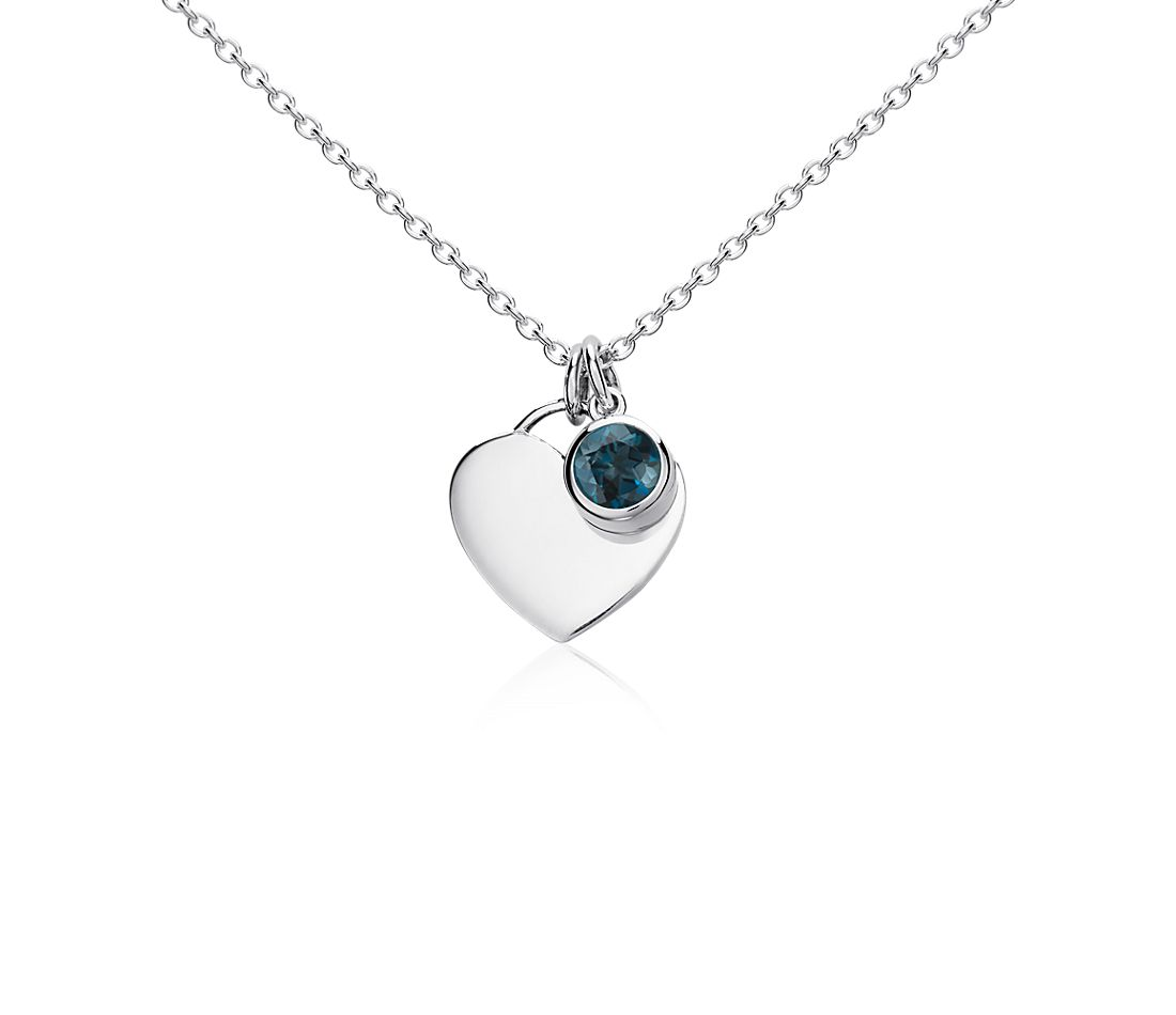 London Blue Topaz Birthstone Heart Pendant in Sterling Silver