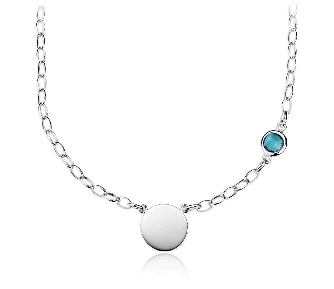 London Blue Topaz Birthstone Necklace in Sterling Silver