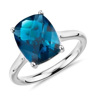 London Blue Topaz Cushion Cut Ring in 14k White Gold (11x9mm)
