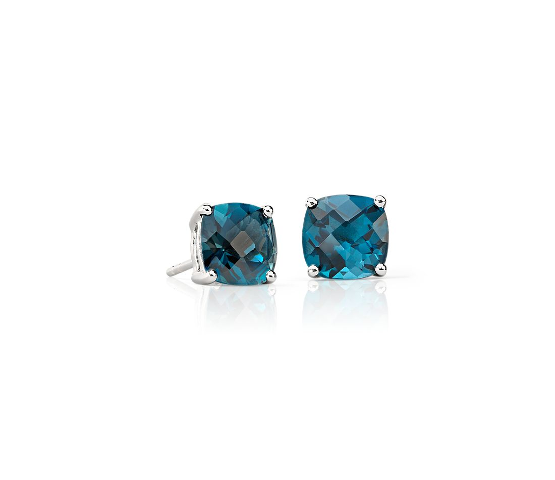 London Blue Topaz Cushion Earrings in Sterling Silver (8mm)