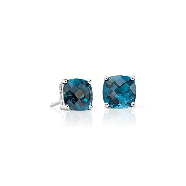 Boucles d'oreilles coussin topaze bleu de Londres en argent sterling (8mm)