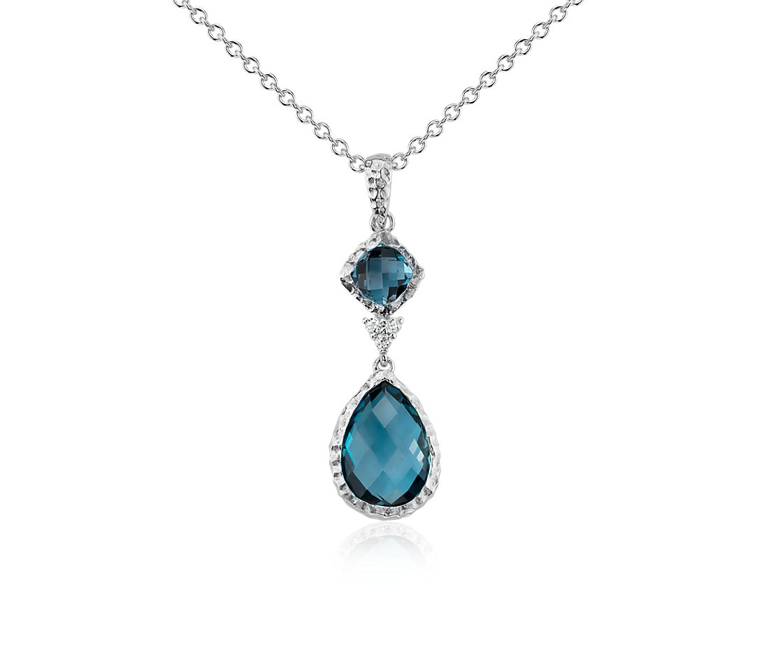 London Blue Topaz and White Topaz Dangle Pendant in Sterling Silver (12x8mm)