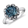 London Blue Topaz and Diamond Flower Ring in 14k White Gold